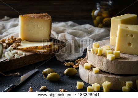 Cheese Platter Of Chopped Swedish Hard Cheese And Sliced Spanish Manchego And Italian Pecorino Tosca