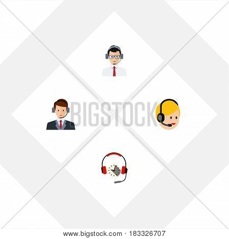 Flat Center Set Of Call Center, Hotline, Help And Other Vector Objects. Also Includes Earphone, Headphone, Center Elements.