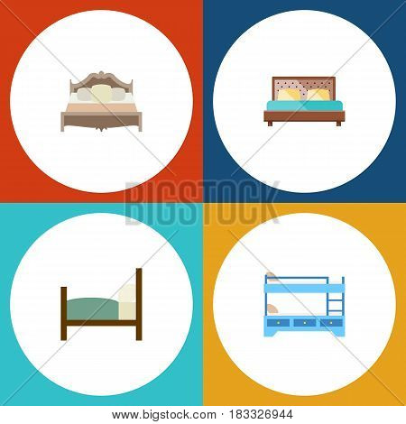 Flat Bed Set Of Bunk Bed, Bed, Bedroom And Other Vector Objects. Also Includes Hostel, Bedroom, Bunk Elements.