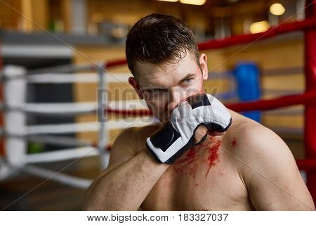 Portrait of tough muscular man wiping blood from face  after finishing fight in boxing ring