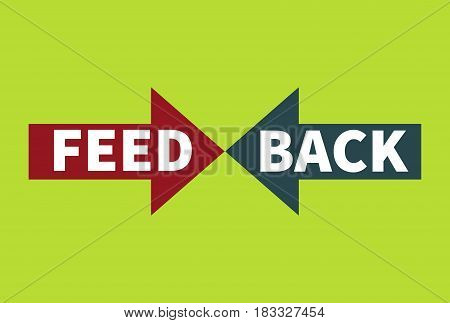 Concept of feedback. Two arrows turned each other. Business icon. Vector illustration.