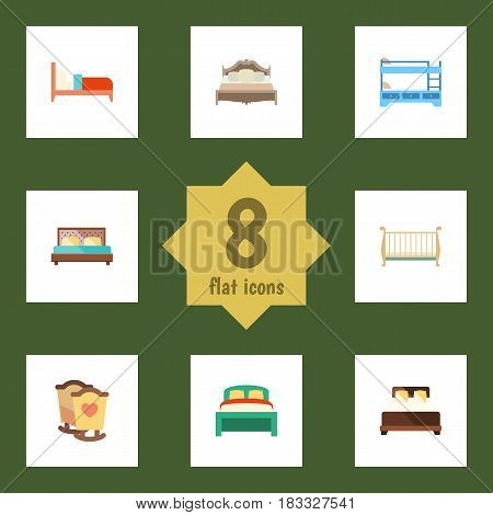 Flat Mattress Set Of Furniture, Bearings, Cot And Other Vector Objects. Also Includes Bedding, Bedroom, Crib Elements.