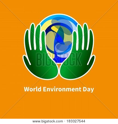 Planet in green protects hands. World environment day. Vector illustration.