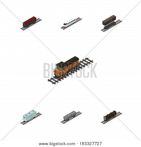 Isometric Railway Set Of Oil Wagon, Delivery Tank, Train And Other Vector Objects. Also Includes Wood, Passenger, Railway Elements.
