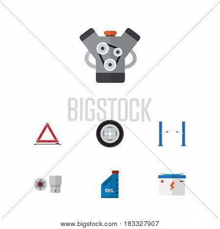 Flat Auto Set Of Motor, Petrol, Turnscrew And Other Vector Objects. Also Includes Star, Oil, Car Elements.