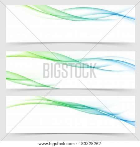 Bright fresh spring halftone gradient flyers templates for web header or footer background. Fantasy swoosh wave transparent lines. Vector illustration