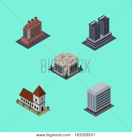 Isometric Urban Set Of Tower, Chapel, Office And Other Vector Objects. Also Includes House, Catholic, Building Elements.