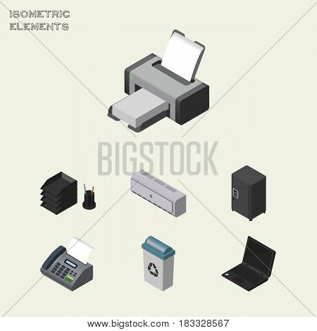 Isometric Business Set Of Garbage Container, Printing Machine, Wall Cooler And Other Vector Objects. Also Includes Strongbox, File, Air Elements.