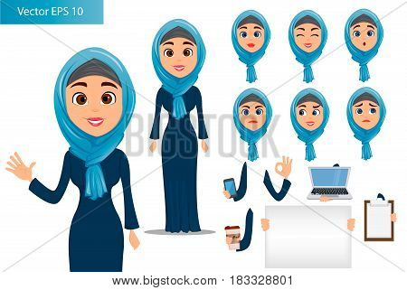 Arabic woman constructor set. Cute businesswoman cartoon character with various face expressions and different things. Stock vector