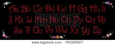 Embroidery vintage alphabet font typeface set. Embroidered English latin letters for textile fashion print inscription patch. Red stitch on black background. Flower decoration vector illustration art