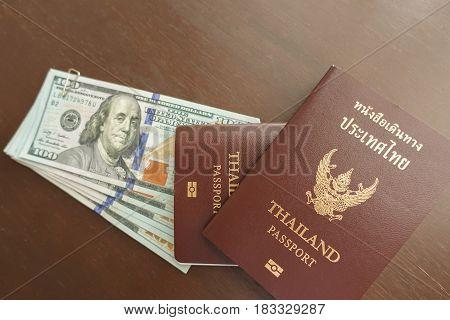 Thai passport at the airport travel around the world