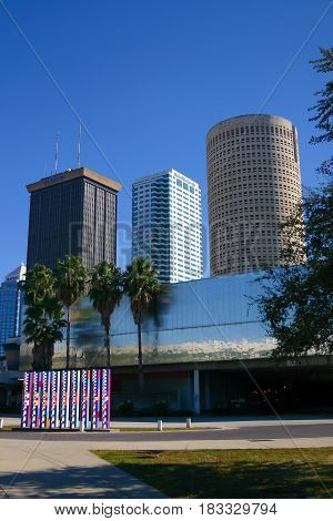 TAMPA, FLORIDA, USA - DECEMBER, 06, 2003: Tampa skyline buildings of the Central Business District.