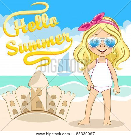 Vector cute blonde girl with cool blue sunglasses and sandcastle at the sea beach. Hello Summer illustration for your design