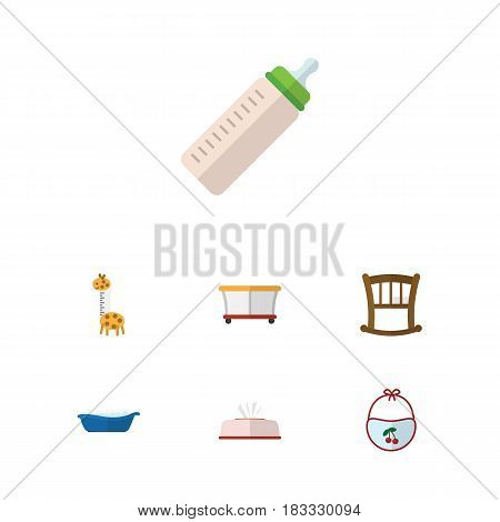 Flat Baby Set Of Playground, Pinafore, Feeder And Other Vector Objects. Also Includes Cot, Box, Bottle Elements.