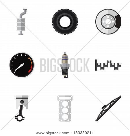 Flat Component Set Of Packing, Tachometr, Steels Shafts And Other Vector Objects. Also Includes Piston, Tachometr, Shafts Elements.