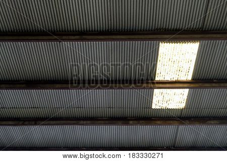 Old Zinc Roof Texture Background with Sun Roof.