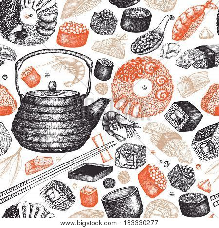 Vector background with hand drawn sushi illustrations. Vintage seamless pattern with asian food sketch. Seafood restaurant menu design
