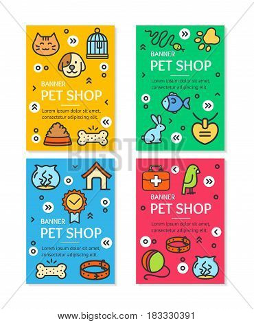 Pet Shop Flyer Banner Placard Template Set witch Outline Icons Treatment and Care Concept. Vector illustration