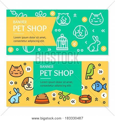Pet Shop Flyer Banner Placard Horizontal Set witch Outline Icons Accessories and Equipment for Dog and Cat. Vector illustration