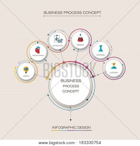 Vector infographic template with 3D paper label integrated circles. Business concept with 6 steps or options. For content, diagram, flowchart, steps, parts, timeline infographics, workflow, layout, chart
