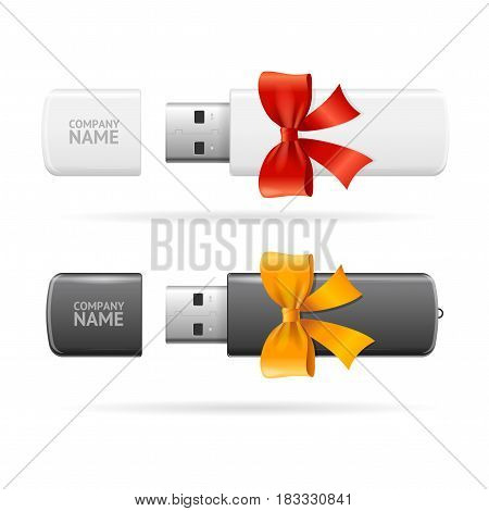 Opened Usb Flash Drive White and Black witch Bow and Ribbon Realistic Memory Portable Device Technology Data Storage. Vector illustration