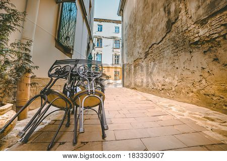 View on old vintage outdoor caffe, nobody