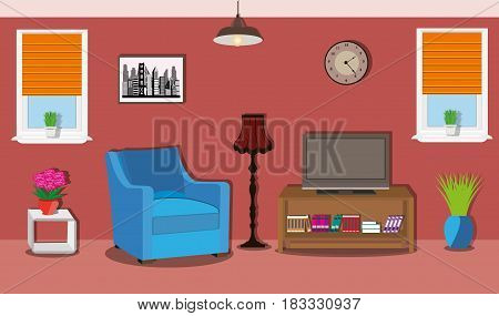 Modern spacious room with bright furniture and windows. Stylish interior design. Armchair, table with TV, floor lamp, clock, picture and chandelier. Flat style vector illustration.