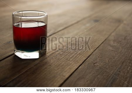 Alcohol Shot Drink Two Layers Red And Blue