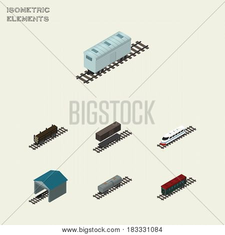 Isometric Railway Set Of Railroad Carriage, Depot, Subway Vehicle And Other Vector Objects. Also Includes Petroleum, Railway, Underground Elements.