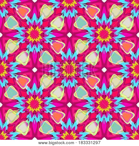 Floral kaleidoscope seamless vector pattern. Can be used in web design, printed on fabric, pape. Background, element in a composition.