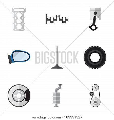 Flat Component Set Of Packing, Steels Shafts, Metal And Other Vector Objects. Also Includes Car, Gasket, Metal Elements.