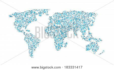 World map of blue round dots. Isolated on white background. Vector illustration.