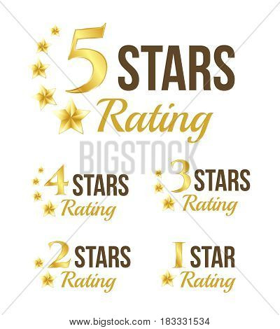 Golden stars rating badges collection. Vector illustration.