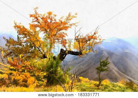View of lonely autumn tree standing at Caucasus mountains