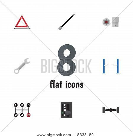 Flat Auto Set Of Pipeline, Warning, Carrying And Other Vector Objects. Also Includes Wrench, Axis, Jack Elements.
