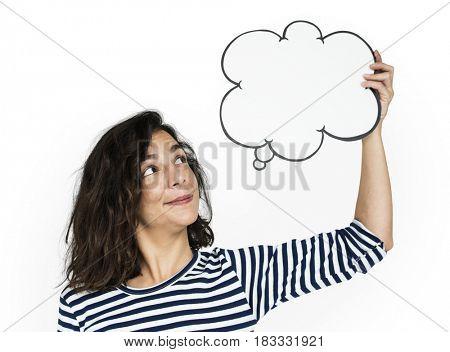 Woman Hold Blank Speech Bubble Copy Space