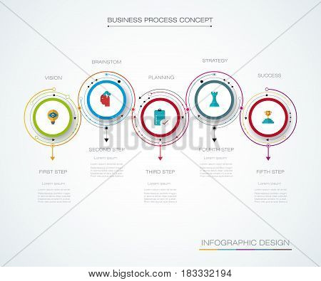 Vector infographics timeline design template with label design and icons 5 options or steps. Can be used for content, business, process, infographics, diagram, chart, digital network, flowchart, process diagram, time line