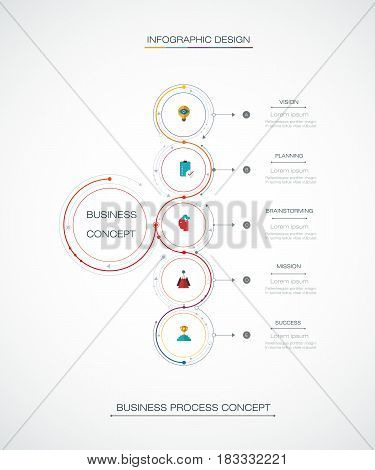 Vector Infographic 3D circle label design with arrows sign and 5 options or steps. Can be used for business, infograph, template, process, infographics, diagram, chart, flowchar,t processes diagram, time line