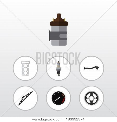 Flat Component Set Of Absorber, Input Technology, Belt And Other Vector Objects. Also Includes Car, Tool, Joint Elements.