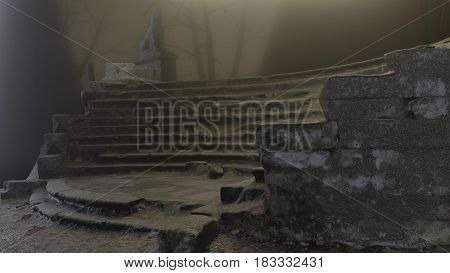 Horror scene of stair and old sculptures, expectation, fog, mystery 3d render