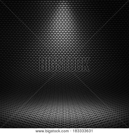 Modern black carbon fiber textured interior studio with directional light for background