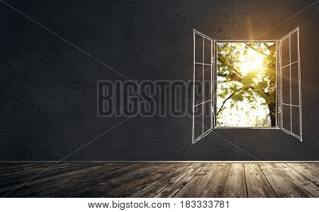 Illustration of old vintage room with concrete wall and wooden floor. Drawn open window with real sunlight is breaking through the window. Mixed media.