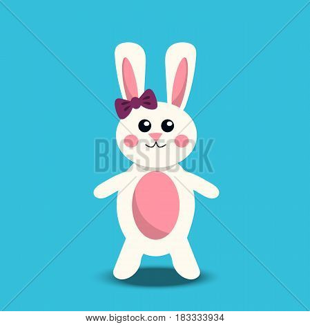 Very high quality original trendy vector illustration of paper Easter bunny or rabbit