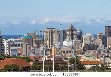 Above Close Up View Of City And Coastal Skyline
