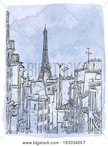 Paris, France - vector sketch. The Paris Roofs and the Eiffel Tower on the Back Plan on a Watercolor Background.