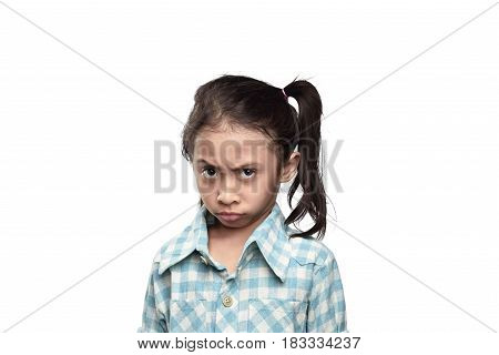 Unhappy Asian Little Girl With Sad Expression