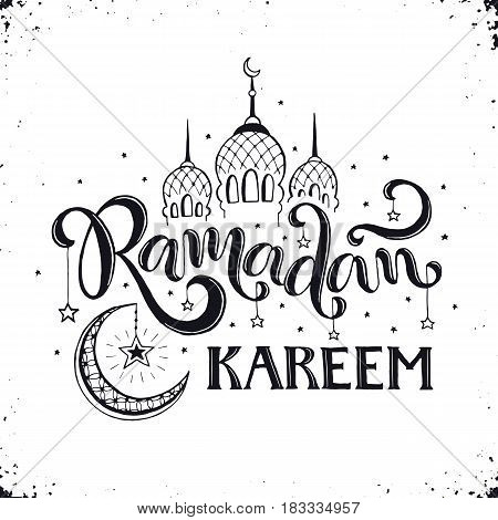 Ramadan Kareem hand drawn calligraphy isolated on white background. Islam 9th month symbols. Mosque dome, crescent and stars with Ramadan wording in sketch style.