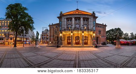 OSLO NORWAY - June 11 2014: The National Theater in Oslo. The theatre had its first performance on 1 September 1899.