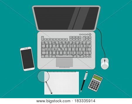Laptop isolated on background. Vector illustration. Eps 10.