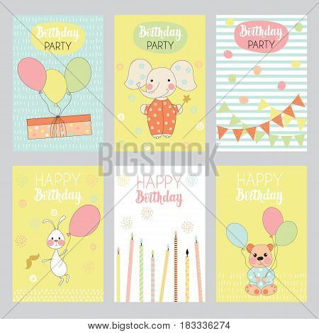 Set of 6 children's Birthday backgrounds with cute elephant bear rabbit gift box balloons candles and garland. Vector illustration.